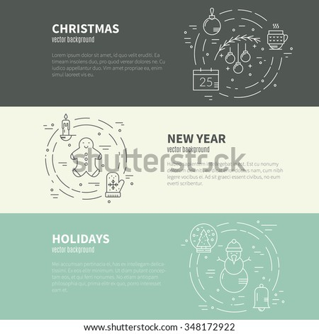 Vector line concept with different christmas and new year objects. Modern line vector christmas concept.Clean and easy to edit. Modern design element for flyer template, advertisement or commercial.  - stock vector