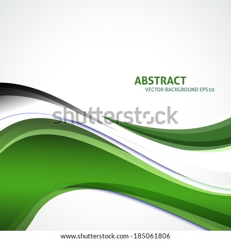 Vector line curve with space for text and message design. Green, gray, white colors background. - stock vector