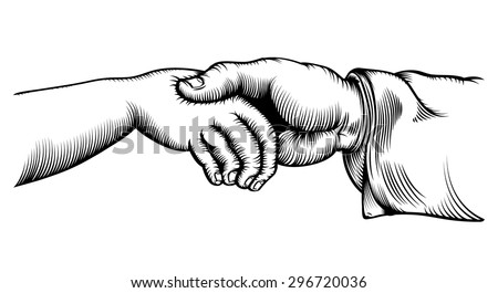 Vector line drawing of / Vintage Handshake Line Drawing / Easy to edit, no effects used, white background easy to colour white fill shapes.