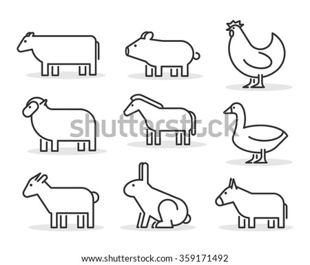 Vector line farm animals icon set. Geometric linear cow, pig, chicken, horse, rabbit, goat, donkey, sheep and geese - stock vector