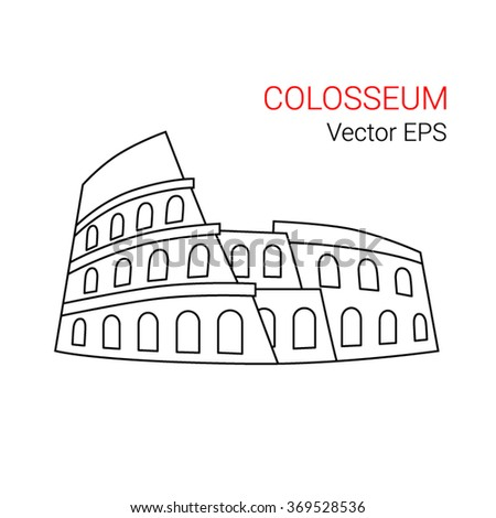 Vector Line Icon of Colosseum, Rome, Italy. Isolated  on white background. - stock vector