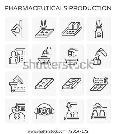 Vector line icon of pharmaceutical production and manufacturing.