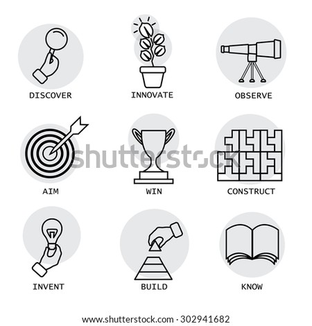 vector line icons of concepts like discovery, innovation, invention. it also represents concepts like construction, building, aiming, target, knowing, knowledge, victory, competition, observation - stock vector