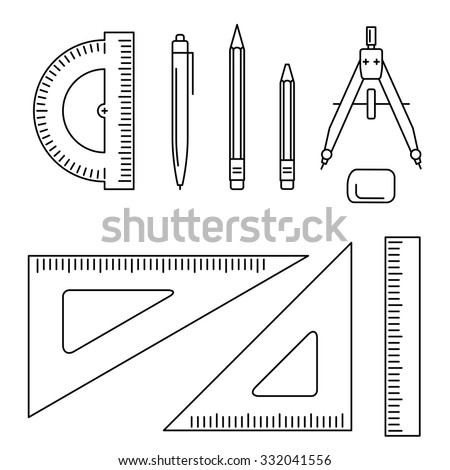 Vector line icons of drawing instrument. Thin drawing professional equipment. - stock vector