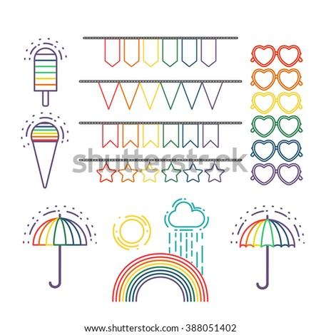 Vector line icons. Set of gay marriage and gay love icons. LGBT symbols ribbons, heart, ice cream, umbrella , glasses and rainbow. Homosexual design elements. Gay pride. Same sex love.  - stock vector