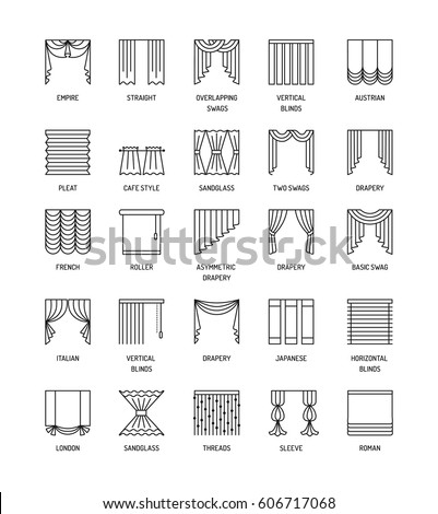 Vector line icons with drapes. Window covering. Different styles of  draperies, curtains and