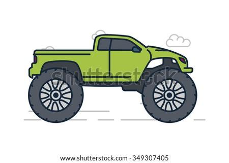 Vector Line Illustration Green Monster Truck Stock Vector 349307405