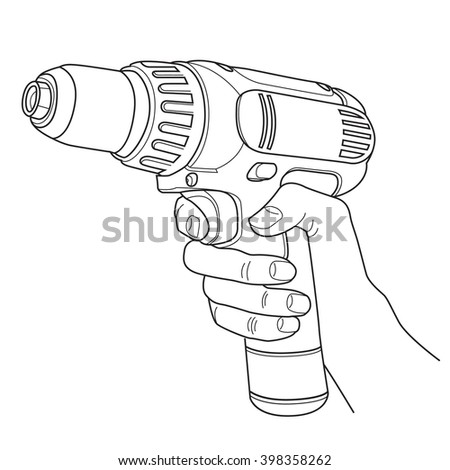 Vector line illustration of hand with drill or screwdriver isolated on white background