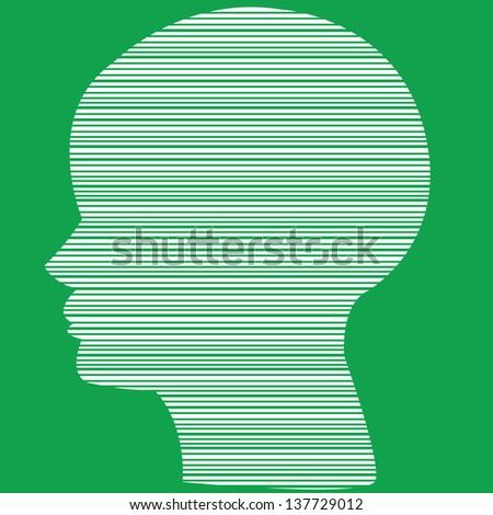 Vector Line in head - stock vector