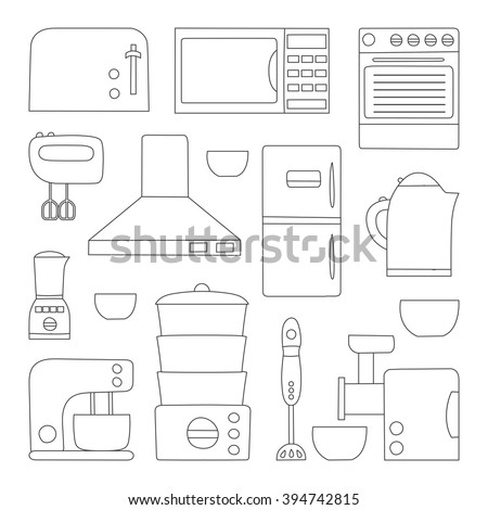 Vector Line Kitchen Appliances Icon Simple Stock Vector 394742815 ...