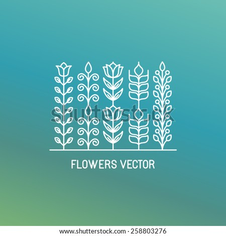 Vector line logo and emblem with flowers and leaves - design element in outline style - stock vector