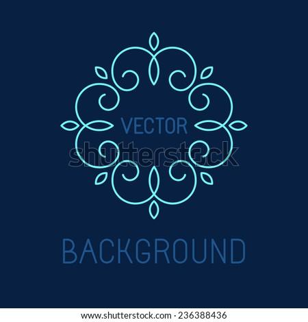 Vector line logo design element - abstract monogram background - stock vector