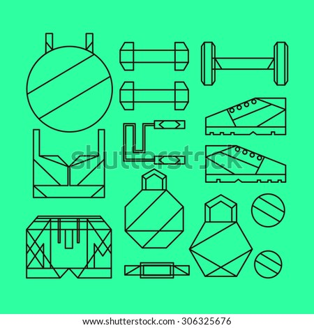 vector line objects items kit instruments sport fitness essentials supplies icons dumbbell sneakers ball health care - stock vector