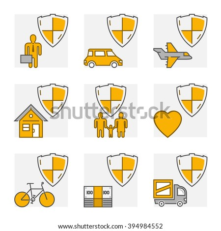 Vector line set icons of insurance. Outline insurance cars and home insurance. Line life insurance and health insurance. - stock vector
