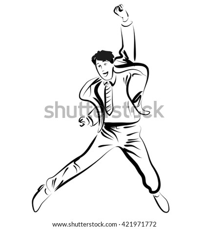 Vector Line sketch jumping businessman