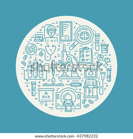 Vector line style illustration with different medical items - MRI, scan, microscope. Medical research poster. - stock vector
