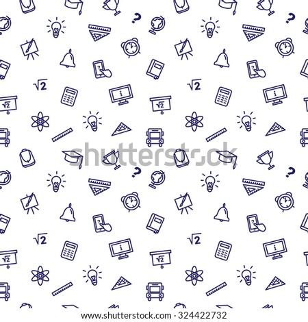 Vector line style school accessories seamless pattern. Cute back to school background