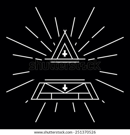 Vector linear abstract hipster logo template - magical triangle with copy space for text - vector badge - stock vector