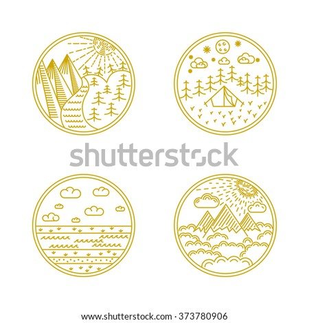 Vector linear badges and logo design elements with landscapes, nature and camping - round labels - stock vector