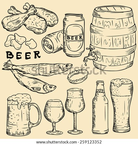 Vector linear drawing. Beer, beer snack, beer ware.