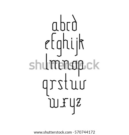 Vector Linear Font Simple Alphabet Mono Stock 570744172
