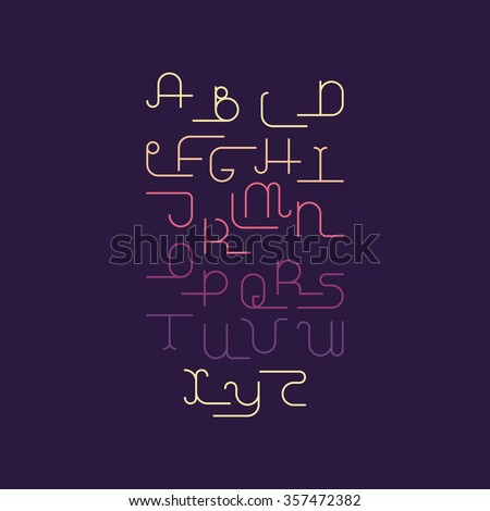 Vector linear font - simple alphabet in mono line style. Uppercase typography design elements.Thin line iconographic flat letters. English hipster modern font. - stock vector