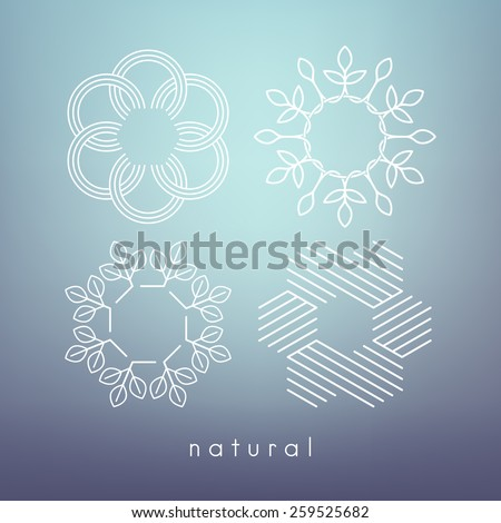 Vector linear frames for modern monograms. Simple minimalist templates. Set of four shapes for branding and logo design. Elegant floral elements. Contemporary graphic design. - stock vector