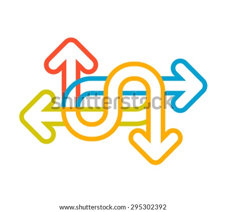 Vector linear illustration of color set arrows on white background. Hand draw line art design for web, site, advertising, banner, poster, board and print.   - stock vector
