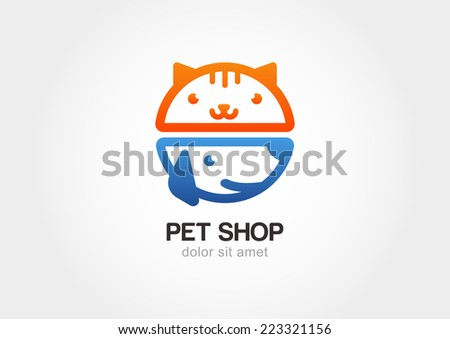 Vector linear illustration of funny muzzle of cat and dog. Logo icon design template. Abstract concept for pet shop or veterinary.  - stock vector