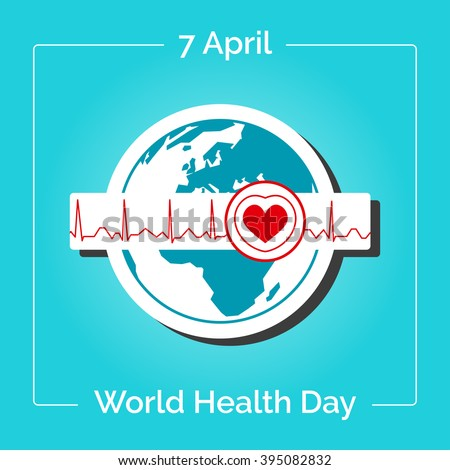 Vector linear illustration. Poster for 7 April, World Health Day. The Earth in blue and white colors in flat style. Globe and normal cardiogram as a concept for World Health Day. Healthy planet. - stock vector