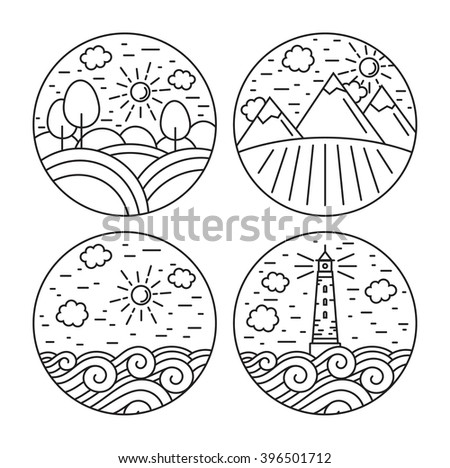 Vector linear label and design elements with landscapes - sea, mountain, forest. Travel concepts