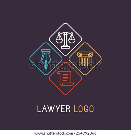 Vector linear logo and icon for lawyer  - stock vector