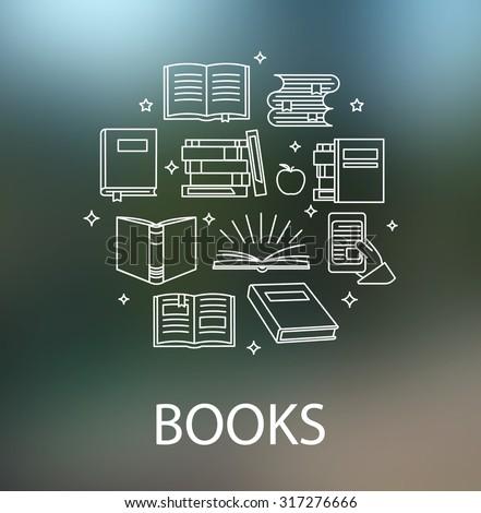 Vector linear logo design template - books concept in outline style - stock vector