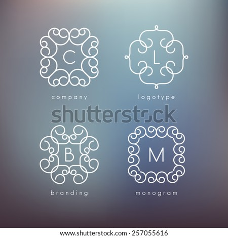 Vector linear monograms. Simple minimalist templates. Set of four shapes for branding and logo design. Modern elegant frames. Blurred dark blue backdrop. Contemporary graphic design - stock vector