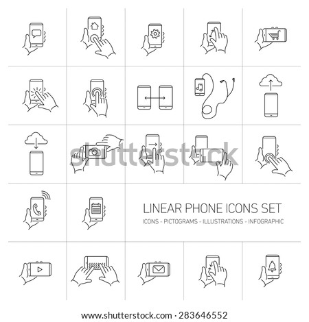 Vector linear phone and technology icons set with hand gestures and pictograms on touch screen | flat design thin line modern black illustration and infographic isolated on white background - stock vector