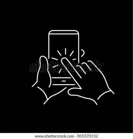 Vector linear phone and technology icons set with hand tapping on smart phone touchscreen with one finger gesture | flat design thin line modern white illustration and infographic on black background - stock vector