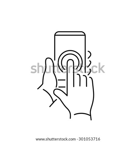 Vector linear phone and technology icons with double tapping on smartphone touchscreen with one finger gesture | flat design thin line modern black illustration and infographic on white background - stock vector