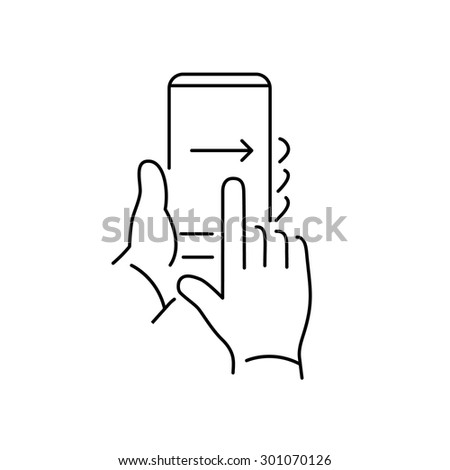 Vector linear phone and technology icons with hand gesture swipe with one finger from left to right side on smartphone touchscreen | flat design thin line modern black illustration and infographic - stock vector