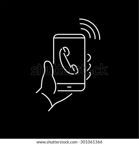Vector linear phone and technology icons with hand phone call gesture holding phone in one hand | flat design thin line modern white illustration and infographic on black background - stock vector