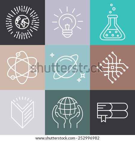 Vector linear science related icons and logo design elements