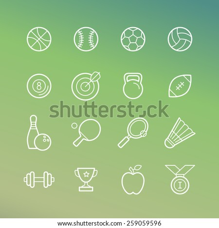 Vector linear sport and fitness icons - signs in outline style on green background - stock vector