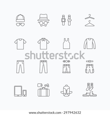 vector linear web icons set - man clothing store collection of flat line design elements. - stock vector
