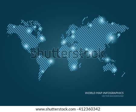 Vector lined world map illustration with glowing points. - stock vector