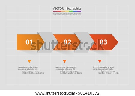 Vector lines arrows infographic. Orange template for diagram, graph, presentation and chart. Business concept with 3 options, parts, steps or processes.