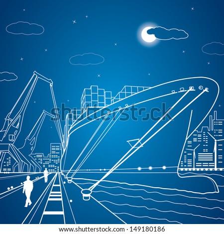 Vector lines cargo ship, ship on the water, port, ship loading - stock vector