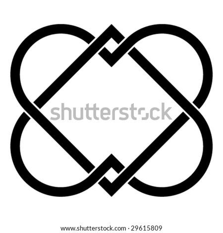 vector linked hearts - stock vector