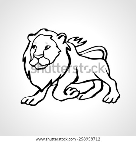 vector lion black and white outline drawing