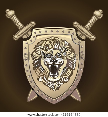 Vector Lion of shield - stock vector