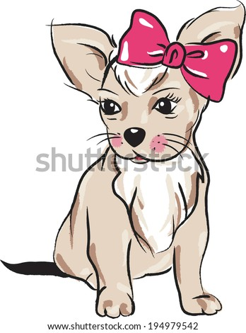 vector  little dog with a bow,  Cartoon Chihuahua. Puppy - stock vector