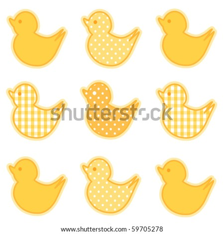 vector - Little Duckies in yellow gingham and polka dots for baby books, scrapbooks and albums. EPS8 compatible. - stock vector